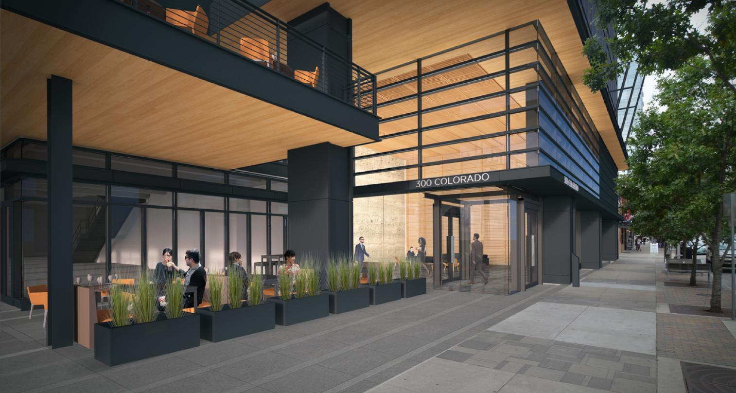 Pedestrian level view of the dining area outside 300 Colorado in downtown Austin, incorporated into our design proposal.