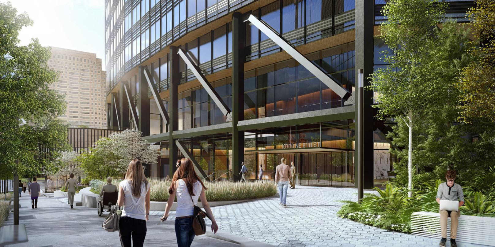 Pedestrian level view of our next-generation Class A commercial office development design in Bellevue.