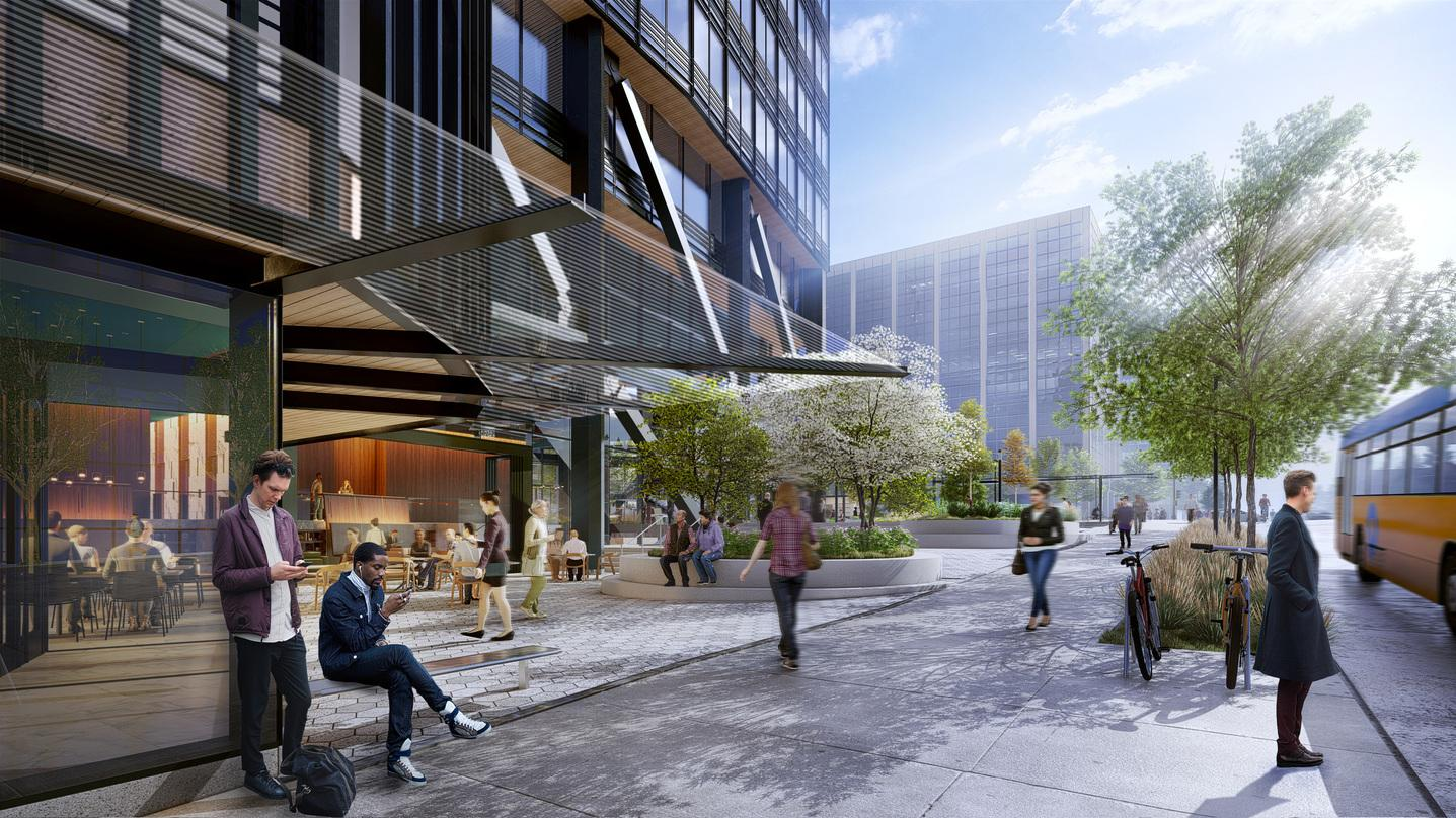 Pedestrian level view of the entrance in our next-generation Class A commercial office development design in Bellevue.