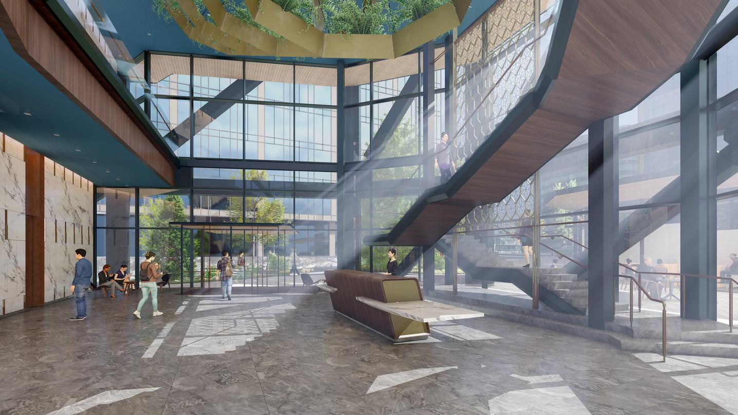 Interior atrium design with adequate sunlight in our next-generation Class A commercial office development design in Bellevue.