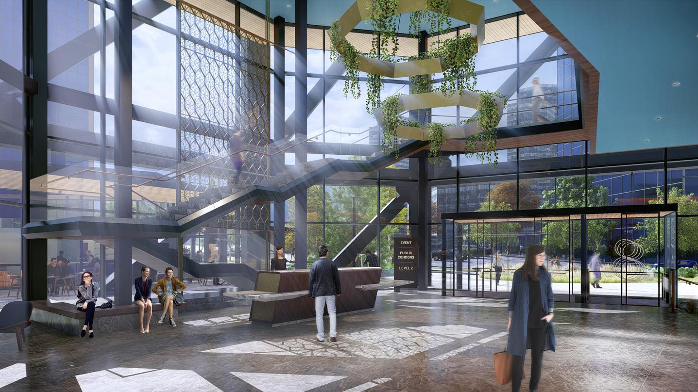 Aesthetically designed atrium and roof designs inside our next-generation commercial office development design in Bellevue.