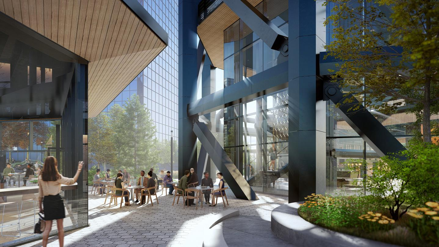 Dining area and iron railings design outside our next-generation commercial office development design in Bellevue.