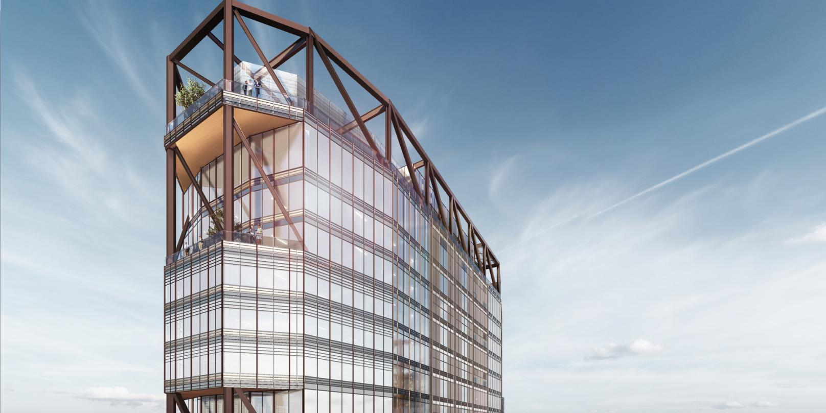 A close up view of the top level deck on our next-generation Class A commercial office development design proposal.
