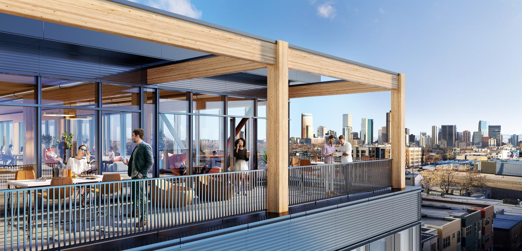 Deck design with glass frame walls incorporated into the proposal for T3 RiNo project in Denver, Colorado.