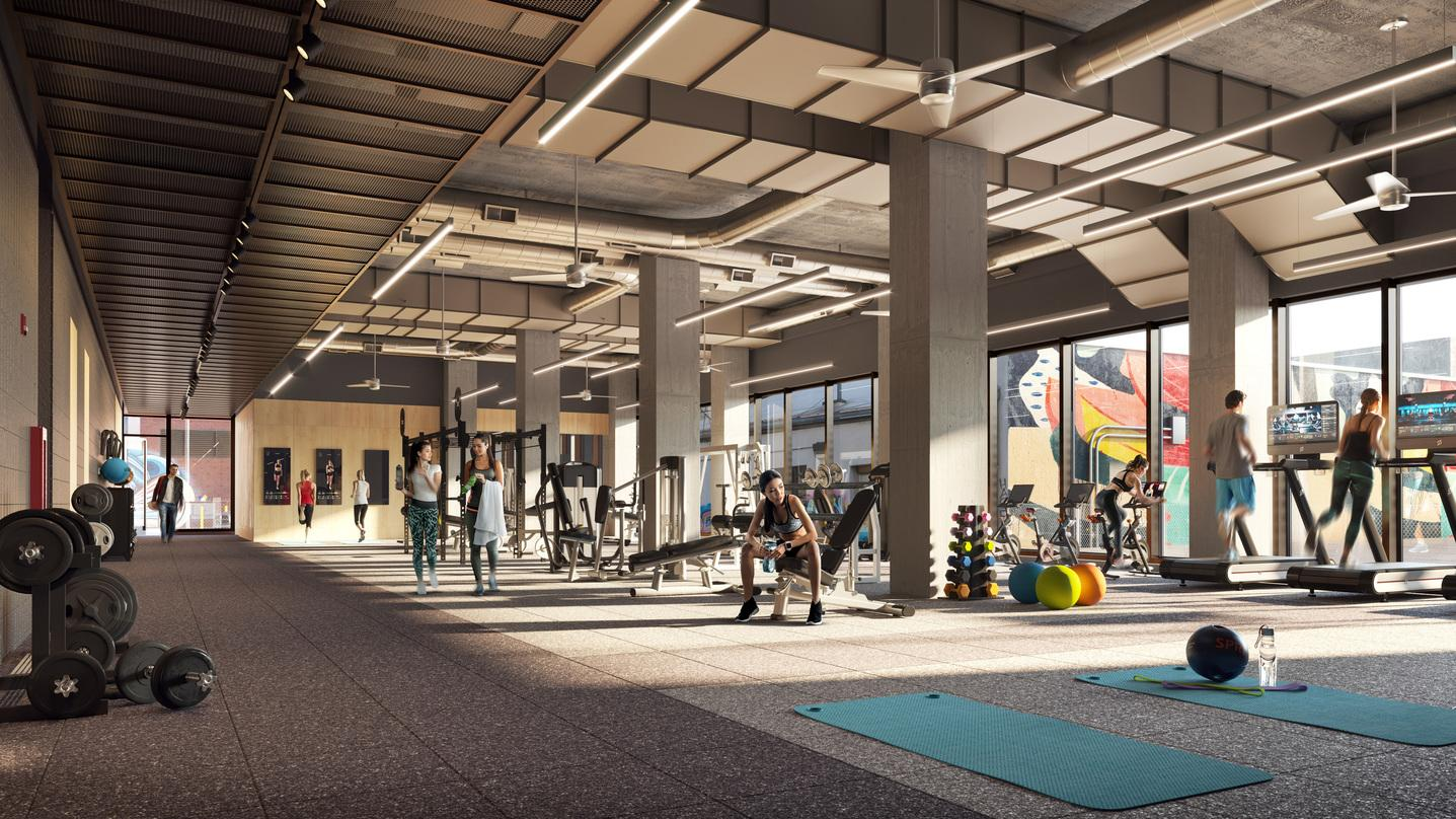 Fitness center design incorporated into the proposal for T3 RiNo project located in Denver, Colorado.