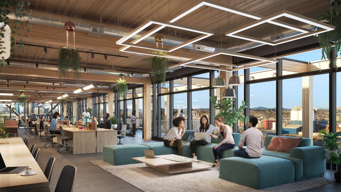 Interior designs incorporated into the proposal for T3 RiNo project in Denver, Colorado with suspended roof patterns.