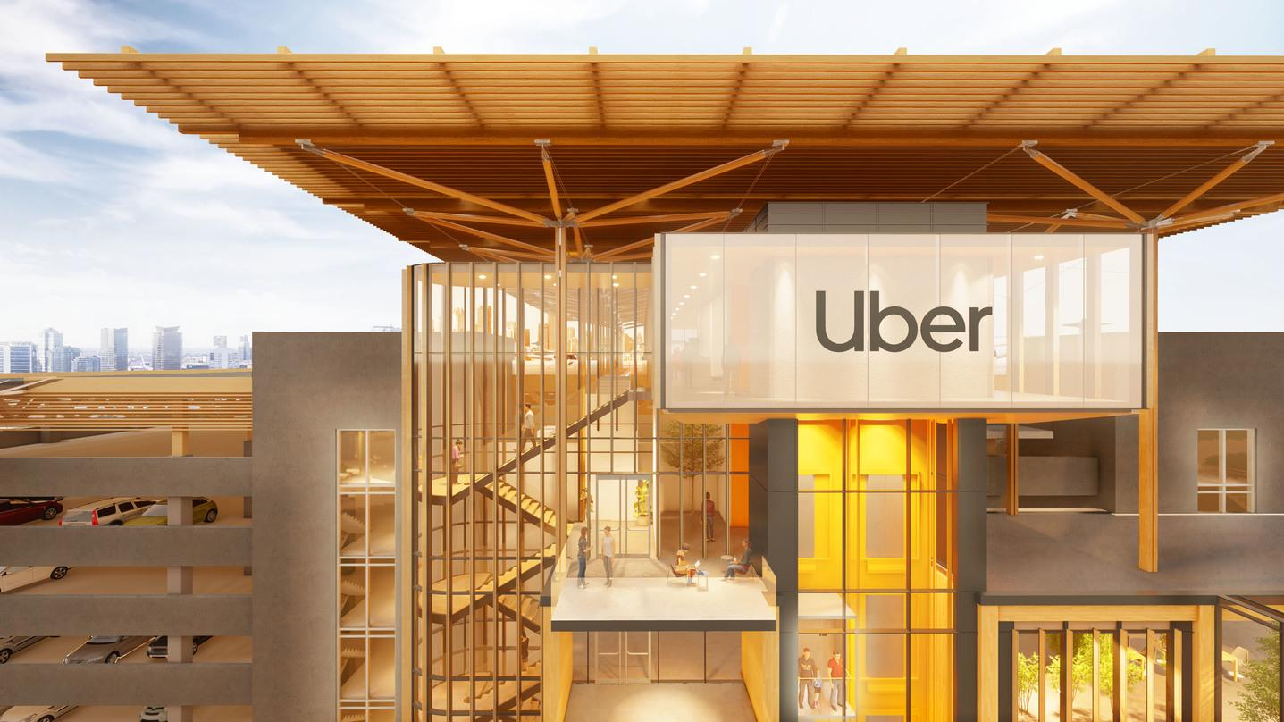A closer look at the timber designs outside the glass frame walls of the Skyloft program by Uber.