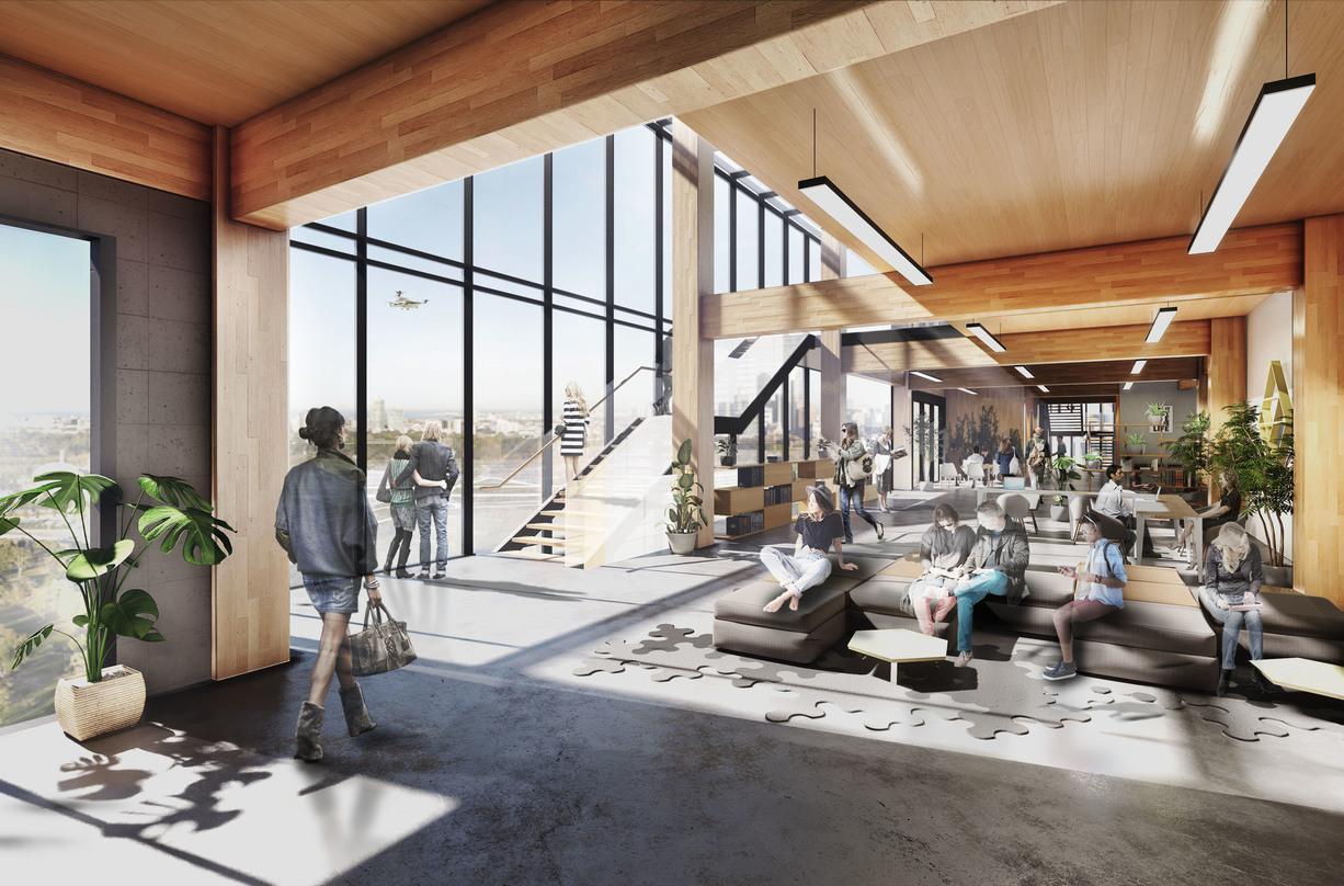 The interior designs with glass frame walls incorporated into the proposal for the Skyloft program by Uber.