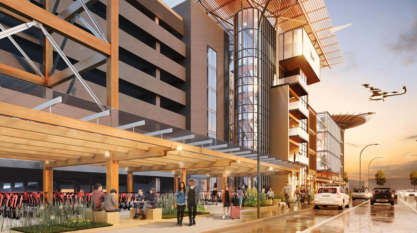 Pedestrian level view of the Skyloft program by Uber constructed with mass timber frame designs.