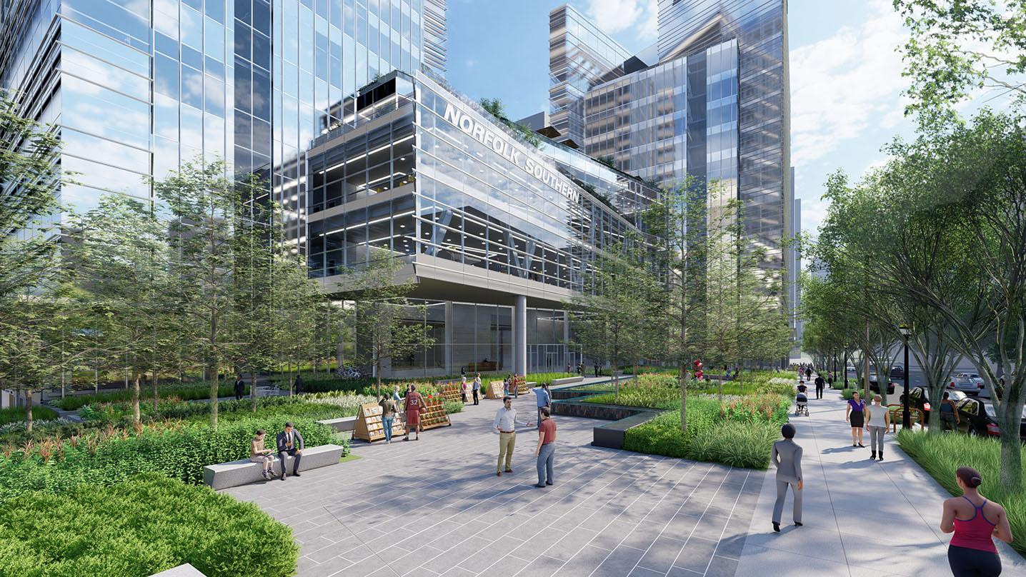 Courtyard view of Norfolk Southern's new high performance corporate headquarters