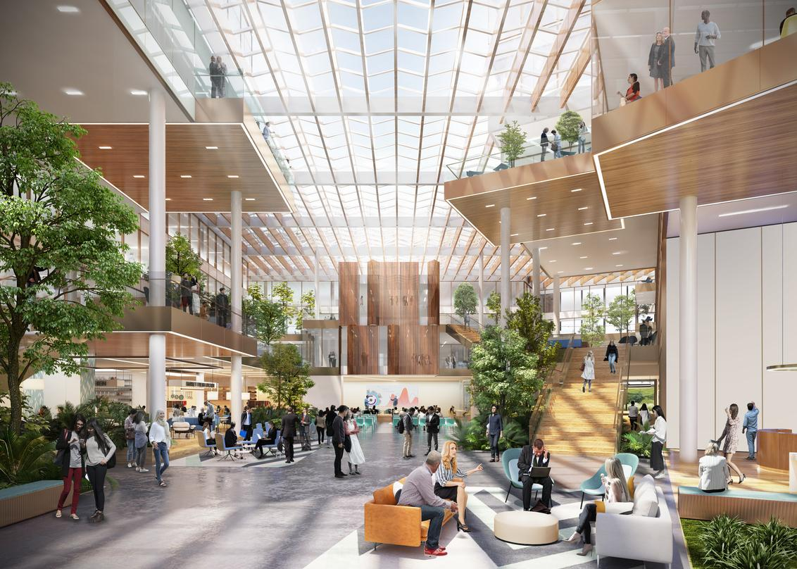 The interior designs with adequate greenery and sunroof incorporated into the next generation workplace in Amsterdam.