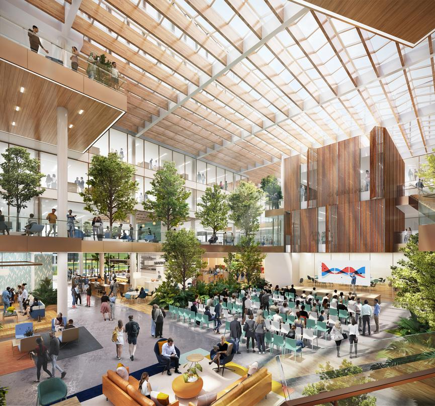 Interior design of the next generation workplace in Amsterdam with a conference hall surrounded by adequate greenery.