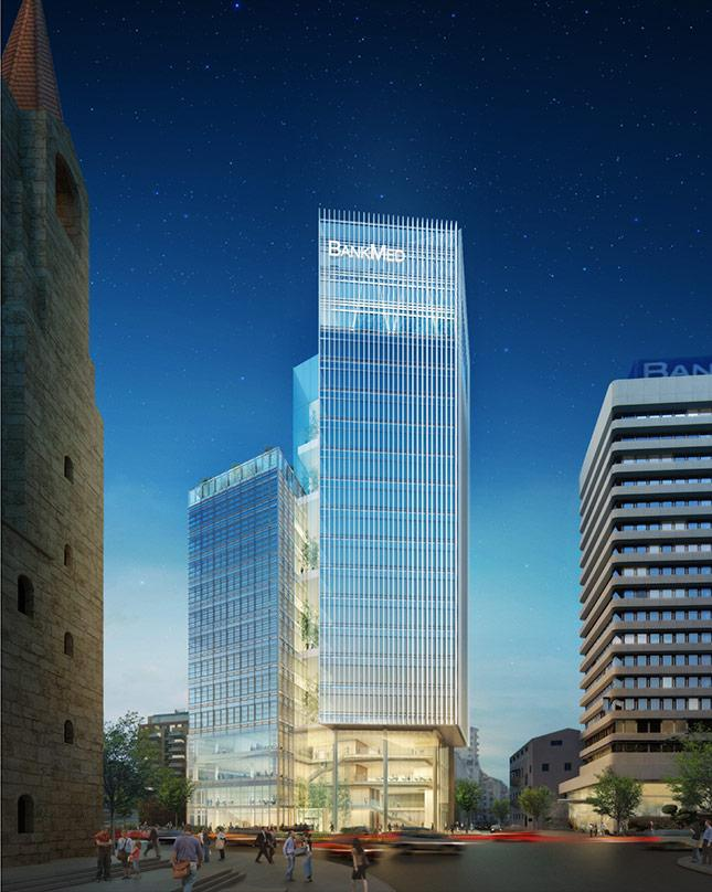 Design proposal for BankMed Headquarters II in Beirut, Lebanon comprising two cubic prisms.