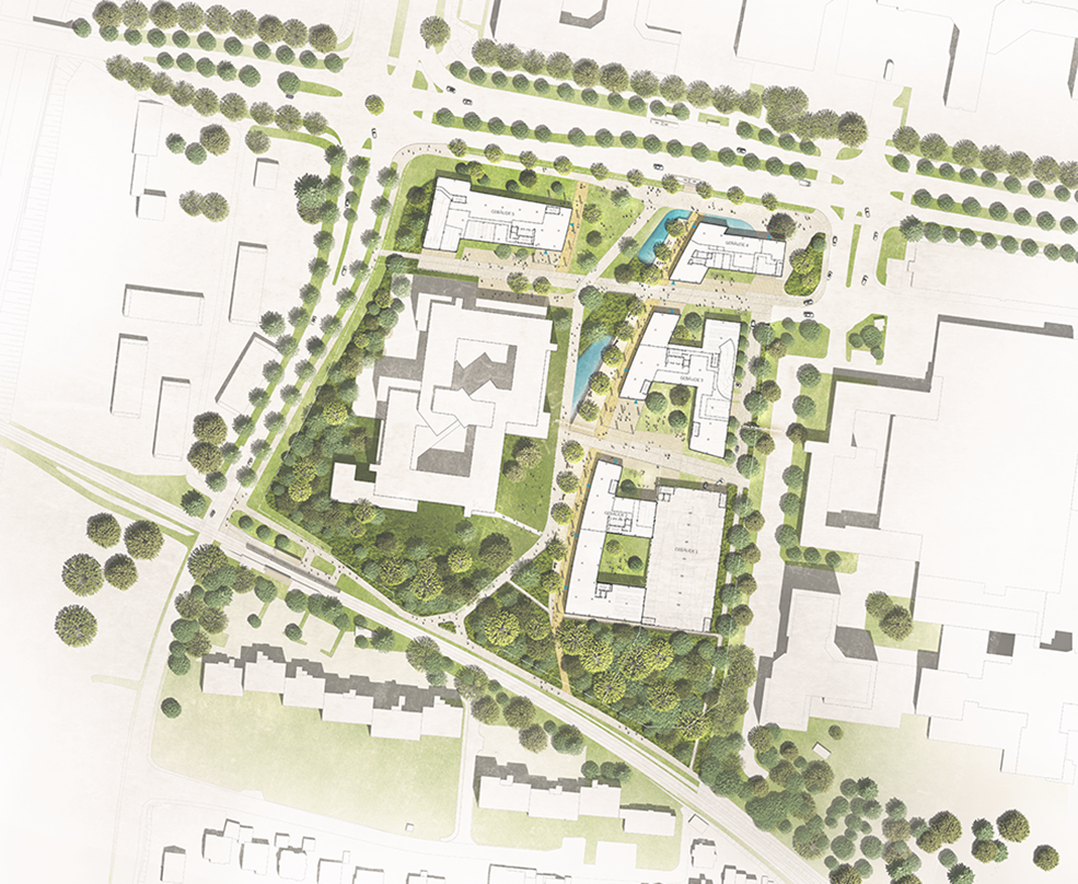 Plieninger Straße 140's phase 2 roof plan that captures the broader view of H-shaped office building designs and the street designs around it