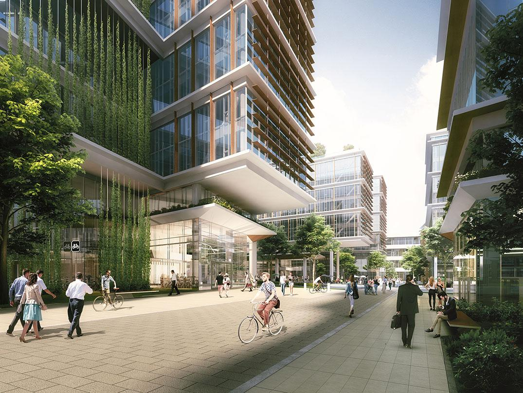 Exterior courtyards for drop-offs, access to bicycle storage and amenities in the master plan design for Plieninger Straße 140 in Stuttgart, Germany