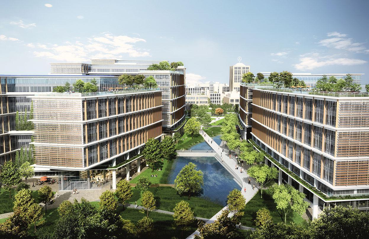 Close up view of Pickard Chilton's masterplan architectural design of urban development in stuttgart, Germany