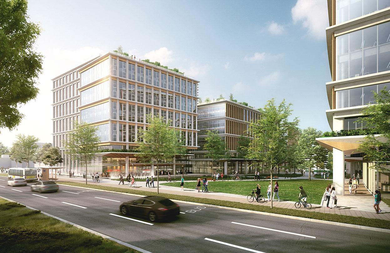 Plieninger Straße 140's master plan architectural design that details the bicycling pathways and exterior courtyards
