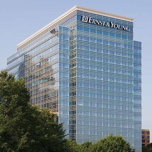 Exterior view of the floor to ceiling vision glass in the regional headquarters of Ernst & Young, located in Atlanta, Georgia.