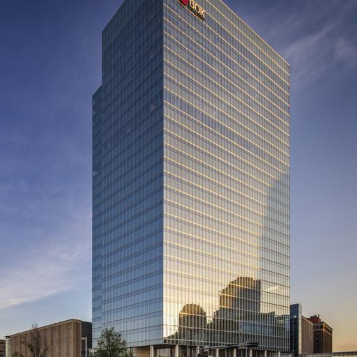 The exterior view of BOK Park Plaza, a premium Class-A office space comprising 27 floors, located in Oklahoma.