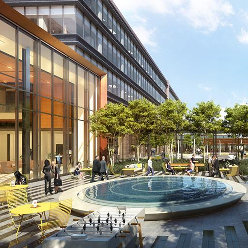The exterior concept design of the Hewlett Packard Enterprise Corporate Campus with fountain and adequate greenery.