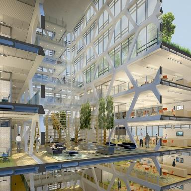 The interior design proposal for the The Office Building of the Future project in Seattle, Washington.