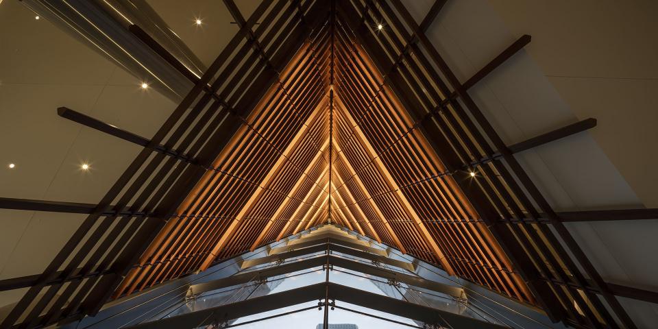 Natural Wood Screen at 609 Main in Houston, Texas
