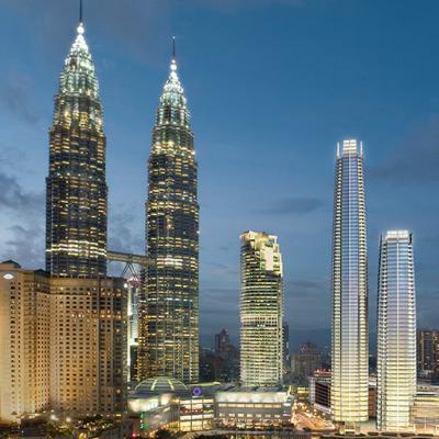 The high-performance low-E glass curtain walls of Four Seasons place, located in Kuala Lumpur Malaysia.