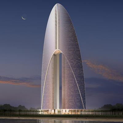Design proposal for Dubai's prestigious waterfront precinct, The Atrium with glass facades for light-filled interiors.