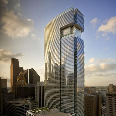The exterior view of BG Group Place located in Houston, Texas.
