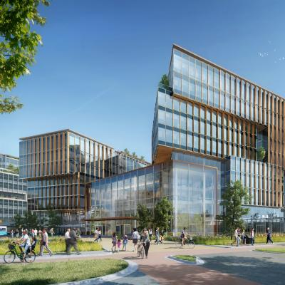 Design proposal for 35,000m2 next generation workplace in Amsterdam that incorporates an innovative three volume design.