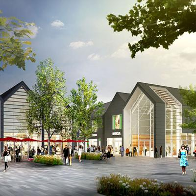 Design proposal for Remscheid Designer Outlet Centre in Germany with diverse and intimate streetscapes inspired by the town.